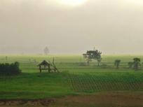 Myanmar : Vue sur la campagne au petit matin